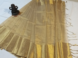 Uppada gold tissue with kanchi border