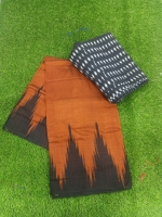 Temple border cotton sarees with blouse