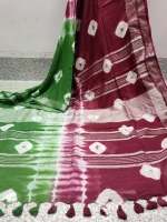 Linen by linen saree Thread count 120 Shibori design