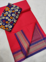 Mangalgiri cotton zari border saree