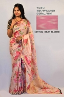 Linen by linen Thread count 120 digital print sarees