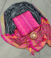 Pochampally ikkat pure sico dress material