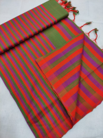 Mangalgiri pure cotton multi colour strips saree