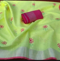 Linen by linen saree Thread count 120 Embroidery works design