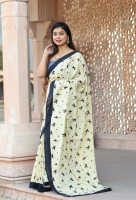 Handblock printed mulmul cotton saree