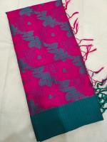 Linen embodery work sarees
