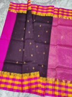 Mangalagiri cotton colour border checks saree