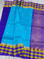 Mangalagiri cotton colour border checks saree