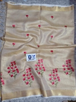 Linen silk saree embroidery works