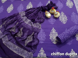 Printed cotton suite with chiffon dupatta