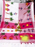 HAND PAINTED KHADI COTTON SAREE