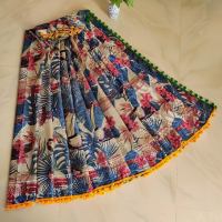 Shibori print soft cotton mulmul saree