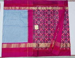 Pochampally checks pallu and blouse design saree